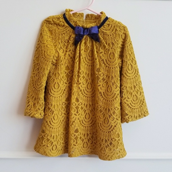 29111cf3aea Genuine Kids Oshkosh Other - Mustard Yellow   Gold Toddler Lace Dress
